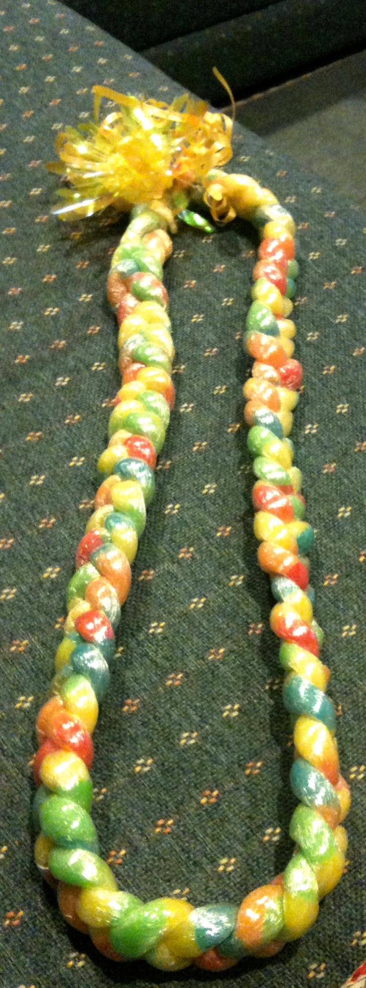 Gummy worm lei.