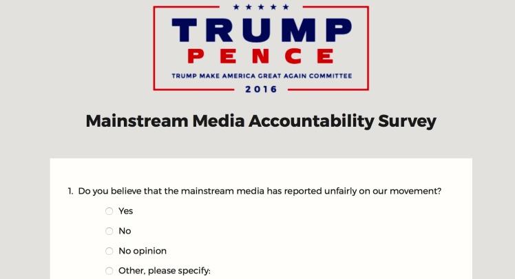 Mainstream Media Accountability Survey -- Question 1