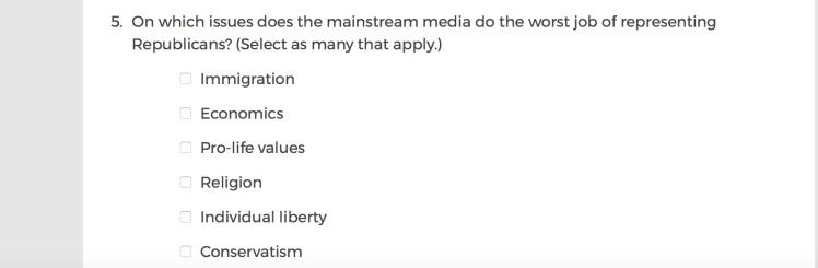 Mainstream Media Accountability Survey -- Question 5