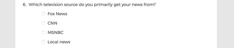 Mainstream Media Accountability Survey -- Question 6