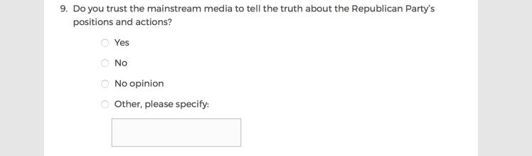Mainstream Media Accountability Survey -- Question 9