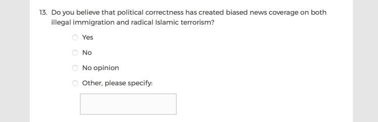 Mainstream Media Accountability Survey -- Question 13
