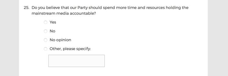 Mainstream Media Accountability Survey -- Question 25